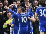 Nemanja Matic celebrates scoring with Eden Hazard during the Premier League game between Chelsea and Middlesbrough on May 8, 2017