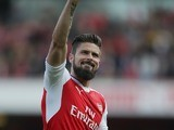 Olivier Giroud waves during the Premier League game between Arsenal and Manchester United on May 7, 2017