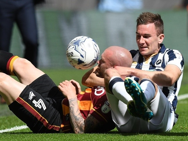 Jed Lawrence and Nicky Law during the League One playoff final between Bradford City and Millwall on May 20, 2017