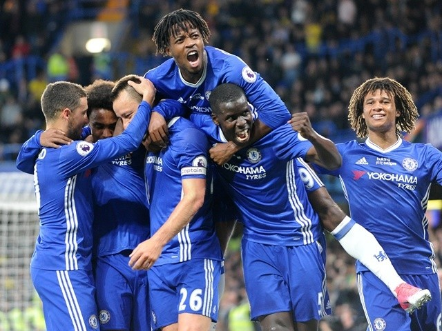 Chelsea's John Terry celebrates scoring the first goal against Watford on May 15, 2017