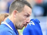 John Terry gets emotional during the Premier League game between Chelsea and Sunderland on May 21, 2017