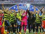 Huddersfield Town celebrate promotion to the Premier League on May 29, 2017