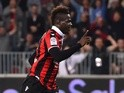 Nice's Mario Balotelli celebrates scoring against Paris Saint-Germain on April 30, 2017