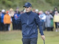 Jordan Spieth acknowledges the crowd at The Open on July 21, 2017