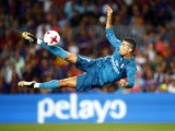 Cristiano Ronaldo in action during the Supercopa de Espana first-leg match between Barcelona and Real Madrid on August 13, 2017