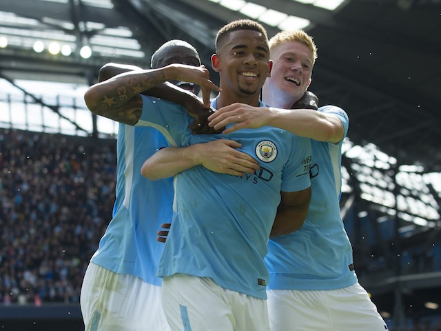 Gabriel Jesus celebrates with Kevin De Bruyne after scoring during the Premier League game between Manchester City and Liverpool