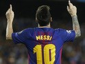 Barcelona forward Lionel Messi celebrates scoring during his side's Champions League group game against Juventus at the Camp Nou on September 12, 2017